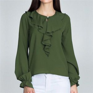 Fall 2019 green blouse with raffle